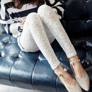 White Lotus Lace Leggings